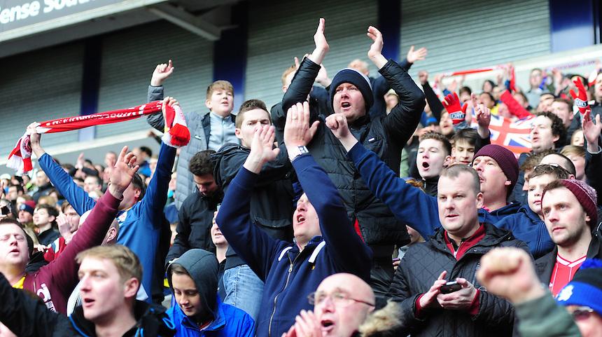 Middlesbrough fans celebrate after Jordan Rhodes had scored their sides winning goal in injury time<br /> <br /> Photographer Chris Vaughan/CameraSport<br /> <br /> Football - The Football League Sky Bet Championship - Bolton Wanderers v Middlesbrough - Saturday 16th April 2016 - Macron Stadium - Bolton<br /> <br /> &copy; CameraSport - 43 Linden Ave. Countesthorpe. Leicester. England. LE8 5PG - Tel: +44 (0) 116 277 4147 - admin@camerasport.com - www.camerasport.com