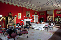 The drawing room's four ebonized spoonback chairs painted with Medusa heads were described and sketched by the novelist Maria Edgeworth in a letter to her father after she had visited Tullynally in 1811