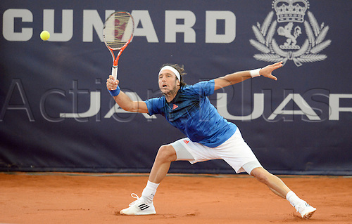 29.07.2015. Hamburg, Germany.  Juan Monaco of Argentina in action during the round of 16 match against Pouille of France at the ATP tennis tournament in Hamburg, Germany, 29 July 2015.