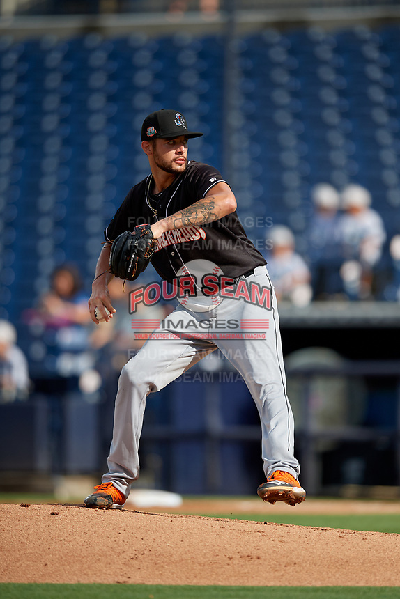 Jupiter Hammerheads starting pitcher Chris Vallimont (10) during a Florida State League game against the Tampa Tarpons on July 26, 2019 at George M. Steinbrenner Field in Tampa, Florida.  Tampa defeated Jupiter 2-0 in the first game of a doubleheader.  (Mike Janes/Four Seam Images)