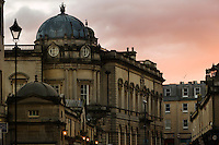 Pulteney Bridge at sunset, Bath, UK, February 10, 2016. The UNESCO World Heritage city of Bath is famed for its hot spa that dates back to Roman times and for its Georgian architecture. For much of its history the city has been a popular holiday resort. It is the only hot spa in the UK.