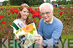 Kerry Rose Karen McGillycuddy with author Ryle Dwyer looking at his new book the  rose of Tralee fifty years a blooming.