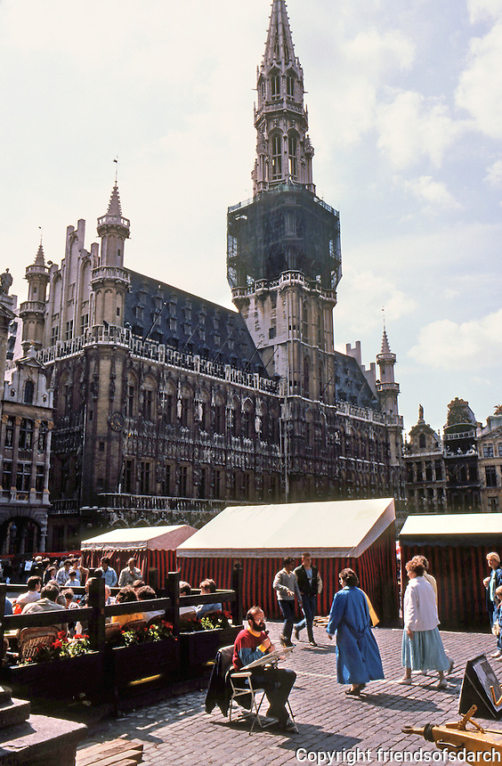 Brussels: Grand Place, Hotel De Ville, 1402; 1444, Tower 1449. The Tower is 295 ft. high.  Photo '87.