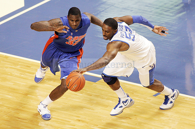 Junior forward Patrick Patterson steals the ball from Vernon Macklin in the first half of UK's win over Florida at Rupp Arena on Sunday, March 7, 2010. Photo by Britney McIntosh | Staff
