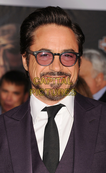 "Robert Downey Jr. .""Marvel's The Avengers"" World Premiere held at the El Capitan Theatre, Hollywood, California, USA..April 11th, 2012.headshot portrait goatee facial hair beard white blue black tinted glasses smiling .CAP/ROT/TM.©Tony Michaels/Roth Stock/Capital Pictures"