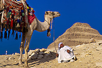 Camel drivers, Step Pyramid of King Zoser, Saqqara, Egypt
