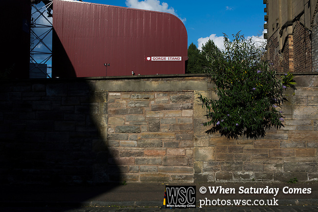 Heart of Midlothian 1 Birkirkara 2, 21/07/2016. Tynecastle Park, UEFA Europa League 2nd qualifying round. An exterior view of the Gorgie Stand at Tynecastle Park, Edinburgh, pictured before Heart of Midlothian played Birkirkara of Malta in a UEFA Europa League 2nd qualifying round, second leg. The match ended in victory for the Maltese side by 2-1 and they progressed on aggregate after the first match had ended 0-0. The game was watched by 14301 spectators, including 56 visiting fans of Birkirkara. Photo by Colin McPherson.