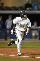 Vanderbilt Commodores infielder Tyler Campbell (2) runs to first during a game against the Indiana State Sycamores on February 20, 2015 at Charlotte Sports Park in Port Charlotte, Florida.  Vanderbilt defeated Indiana State 3-2.  (Mike Janes/Four Seam Images)