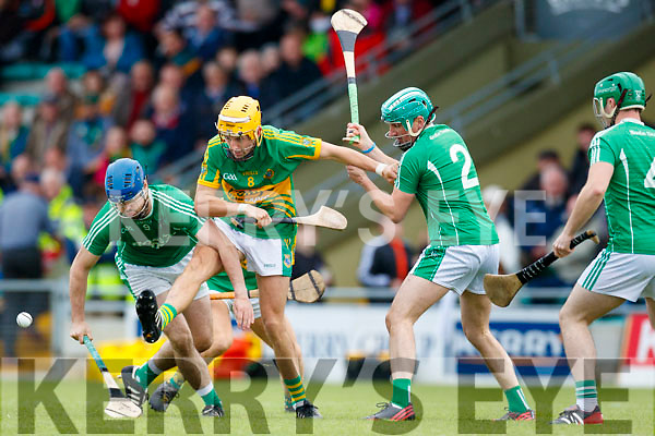 Anthony O'Carroll Ballyduff in action against John Griffin Lixnaw in the Senior County Hurling Final in Austin Stack Park on Sunday