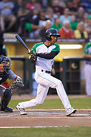 Andy Sugilio (5) of the Dayton Dragons follows through on his swing against the Bowling Green Hot Rods at Fifth Third Field on June 8, 2018 in Dayton, Ohio. The Hot Rods defeated the Dragons 11-4.  (Brian Westerholt/Four Seam Images)