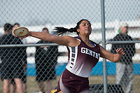 NWA Democrat-Gazette/J.T. WAMPLER Chastery Fuamatu of Gentry throws the discus Thursday March 8, 2018 at the Joe Roberts Relays track meet at Har-Ber High School in Springdale.
