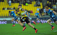 Hurricanes captain TJ Perenara makes a break during the Super Rugby Aotearoa match between the Hurricanes and Blues at Sky Stadium in Wellington, New Zealand on Saturday, 18 July 2020. Photo: Dave Lintott / lintottphoto.co.nz