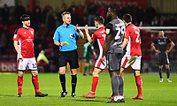 Lincoln City's John Akinde is shown a yellow card by referee Christopher Sarginson<br /> <br /> Photographer Andrew Vaughan/CameraSport<br /> <br /> The EFL Sky Bet League Two - Crewe Alexandra v Lincoln City - Wednesday 26th December 2018 - Alexandra Stadium - Crewe<br /> <br /> World Copyright &copy; 2018 CameraSport. All rights reserved. 43 Linden Ave. Countesthorpe. Leicester. England. LE8 5PG - Tel: +44 (0) 116 277 4147 - admin@camerasport.com - www.camerasport.com