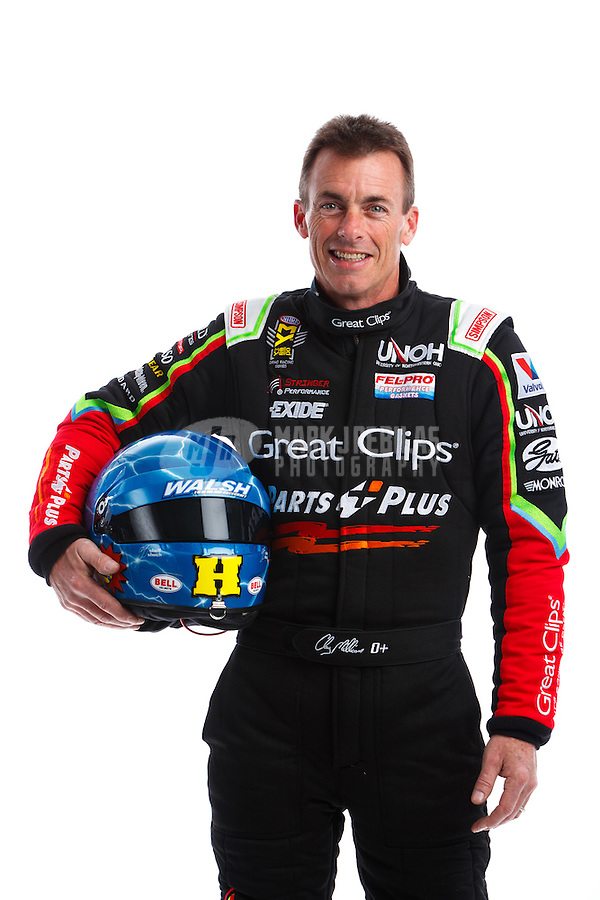 Feb 8, 2017; Pomona, CA, USA; NHRA top fuel driver Clay Millican poses for a portrait during media day at Auto Club Raceway at Pomona. Mandatory Credit: Mark J. Rebilas-USA TODAY Sports