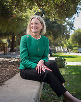 Occidental College Board of Trustees chair Susan Howell Mallory '76 M'78, photographed Sept. 29, 2016 in the Academic Quad.<br /> (Photo by Marc Campos, Occidental College Photographer)