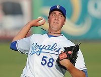 July 22, 2009: RHP Greg Bilio (58) of the Burlington Royals, rookie Appalachian League affiliate of the Kansas City Royals, in a game at Burlington Athletic Stadium in Burlington, N.C. Photo by: Tom Priddy/Four Seam Images