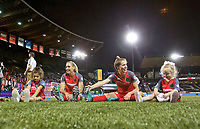 Portland, OR - Saturday August 19, 2017: Allie Long, Meghan Klingenberg stretch with Connie Valeri and Edie Parsons during a regular season National Women's Soccer League (NWSL) match between the Portland Thorns FC and the Houston Dash at Providence Park.