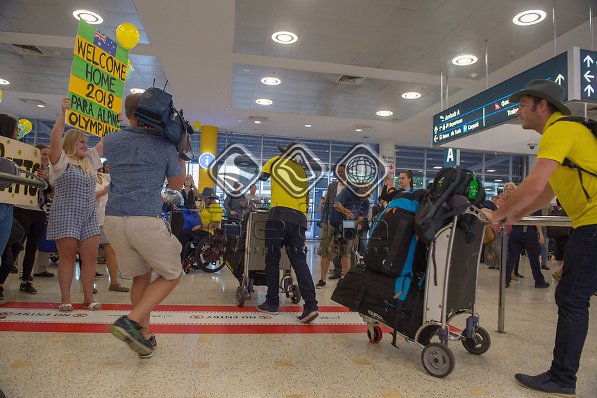 Welcome home - Sydney airport<br /> PyeongChang 2018 Paralympic Games<br /> Australian Paralympic Committee<br /> Sydney International Airport<br /> PyeongChang South Korea<br /> Tuesday March 20th 2018<br /> &copy; Sport the library / Jeff Crow
