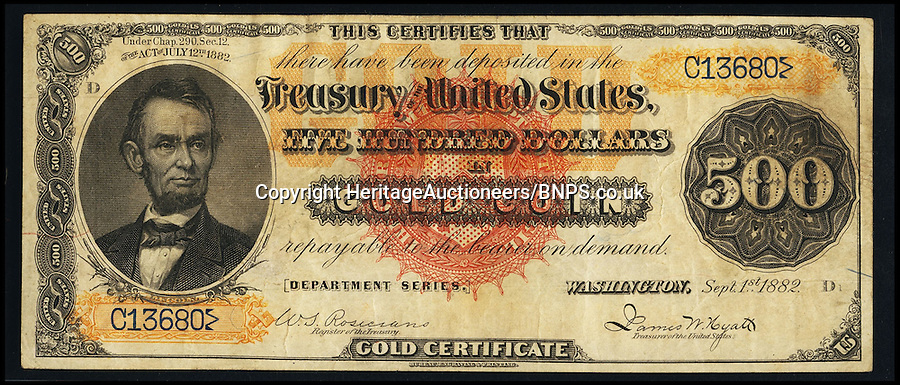 "BNPS.co.uk (01202) 558833<br /> Picture: HeritageAuctioneers<br /> <br /> $500 1882 Gold Certificate - front<br /> <br /> Four rare bank notes once deemed worthless are set to sell for a staggering £3.5 million after they were discovered in a drawer. The notes, totalling 3,500 US dollars, are so rare that experts feared them lost forever - and have hailed their discovery as a ""trophy find"". They date back to the 1880s and have miraculously survived the last 130 years in tact after being kept in a drawer at the home of a US banker. The currency - three 1,000 dollar notes and one 500 dollar note - are now tipped to sell for 1,700 times their face value."