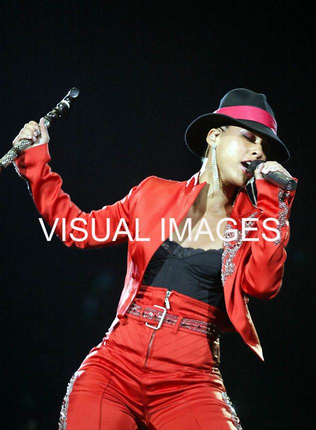 American singer Alicia Keys performs at Rock in Rio Festival 7 June, 2004