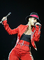 American singer Alicia Keys performs at Rock in Rio Festival 7 June, 2004