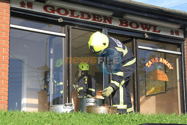 Two Units of Drogheda Fire Service attended a fire in the Golden Bowl Take away on the morning of 14th September..Picture Fran Caffrey/www.newsfile.ie.