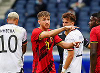 Belgium's Alexis Saelemaekers points during a soccer game between the national teams Under21 Youth teams of Belgium and Germany on the 5th matday in group 9 for the qualification for the Under 21 EURO 2021 , on tuesday 8 th of September 2020  in Leuven , Belgium . PHOTO SPORTPIX.BE | SPP | SEVIL OKTEM