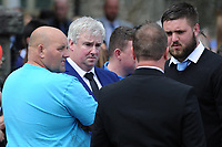 Pictured: Family and friends of Carson leave the funeral at Gelligaer Church, in Gelligaer, Wales, UK Tuesday 07 May 2019<br /> Re: Funeral of 13 year old Carson Price at Gelligaer Church, in Gelligaer, Wales, UK.<br /> Schoolboy Carson Price was found at a park in Ystrad Mynach, south Wales at the start of the Easter school holidays.<br /> It is believed he had taken MDMA Donkey Kong tablets.