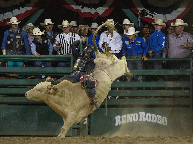 Stetson Wright competes in the Bull Riding event during the Reno Rodeo on Sunday, June 23, 2019.