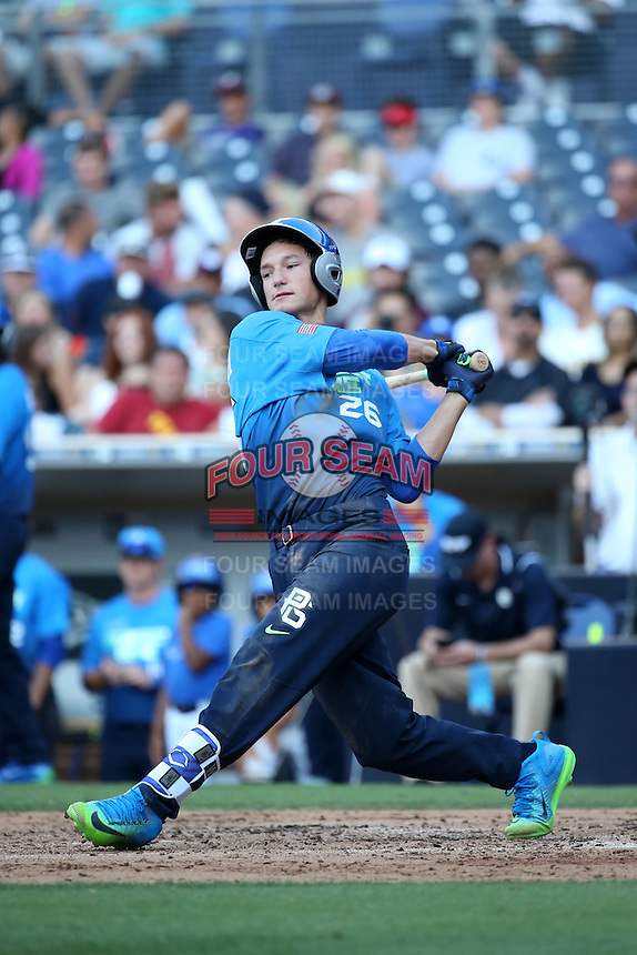 Jacob Gonzalez (26) of the West Team bats against the East Team during the Perfect Game All American Classic at Petco Park on August 14, 2016 in San Diego, California. West Team defeated the East Team, 13-0. (Larry Goren/Four Seam Images)