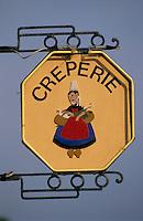 Europe/France/Bretagne/29/Finistère/Benodet: Détail enseigne d'une crêperie
