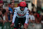 Fernando Gaviria (COL) UAE Team Emirates badly injured during Stage 1 of La Vuelta 2019, a team time trial running 13.4km from Salinas de Torrevieja to Torrevieja, Spain. 24th August 2019.<br /> Picture: Colin Flockton | Cyclefile<br /> <br /> All photos usage must carry mandatory copyright credit (© Cyclefile | Colin Flockton)