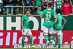 01.09.2019, wohninvest WESERSTADION, Bremen, GER, 1.FBL, Werder Bremen vs FC Augsburg<br /> <br /> DFL REGULATIONS PROHIBIT ANY USE OF PHOTOGRAPHS AS IMAGE SEQUENCES AND/OR QUASI-VIDEO.<br /> <br /> im Bild / picture shows<br /> Jubel 2:1, <br /> Joshua Sargent (Werder Bremen #19) bejubelt seinen Treffer zum 2:1, <br /> <br /> Foto © nordphoto / Ewert