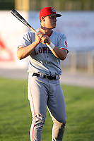 September 11 2008:  Ryan Lavarnway of the Lowell Spinners, Class-A affiliate of the Boston Red Sox, during a game at Dwyer Stadium in Batavia, NY.  Photo by:  Mike Janes/Four Seam Images