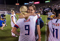 PASADENA, CA - AUGUST 4: Lindsey Horan #9 embraces Lauren Cheney during a game between Ireland and USWNT at Rose Bowl on August 3, 2019 in Pasadena, California.