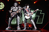 "SUNRISE FL - AUGUST 06: Gene Simmons and Tommy Thayer of KISS perform during ""The End Of The Road World Tour"" at The BB&T Center on August 6, 2019 in Sunrise, Florida. Photo by Larry Marano © 2019"