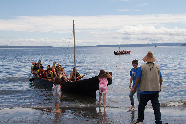 Canoe Journey, Paddle to Nisqually, 2016, Northwest tribal canoes landing, Port Townsend, Fort Worden, Olympic Peninsula, Puget Sound, Salish Sea, Washington State, USA,