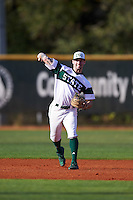 Chicago State Cougars shortstop Julian Russell (1) warmup throw to first base during a game against the Georgetown Hoyas on March 3, 2017 at North Charlotte Regional Park in Port Charlotte, Florida.  Georgetown defeated Chicago State 11-0.  (Mike Janes/Four Seam Images)