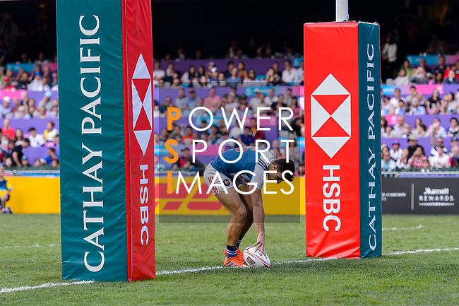Paulin Riva of France scores a try during the HSBC Hong Kong Sevens 2018 Bowl Final match between Canada and France on 08 April 2018, in Hong Kong, Hong Kong. Photo by Marcio Rodrigo Machado / Power Sport Images
