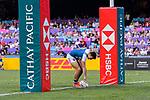 Paulin Riva of France scores a try during the HSBC Hong Kong Sevens 2018 Bowl Final match between Canada and France on 08 April 2018, in Hong Kong, Hong Kong. Photo by Marcio Rodrigo Machado / Power Sport Images