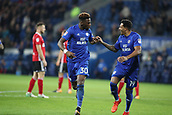 31st October 2017, Cardiff City Stadium, Cardiff, Wales; EFL Championship football, Cardiff City versus Ipswich Town; Omar Bogle and Nathaniel Mendez-Laing of Cardiff City celebrate scoring Cardiff City 2nd goal making it 2-0