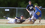 The Gazette The Prince George's County team second baseman Cory Matteson tags out  Mt. Airy's Derek Frantz as he tries to steal second base during the two teams first round match up in the Maryland Babe Ruth State Tournament on Thursday evening at Cosca Regional Park in Clinton.