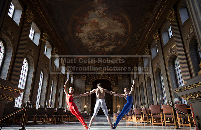 24/10/2011. LONDON, UK. Ballet dancers pose as part of 'Dance GB' in the Painted Hall at the Old Royal Maritime College in Greenwich, London. 'Dance GB' is set to be one of the highlights of the 2012 London Olympic Games and will see the UK's three national dance companies working together for the first time. Photo credit: Matt Cetti-Roberts