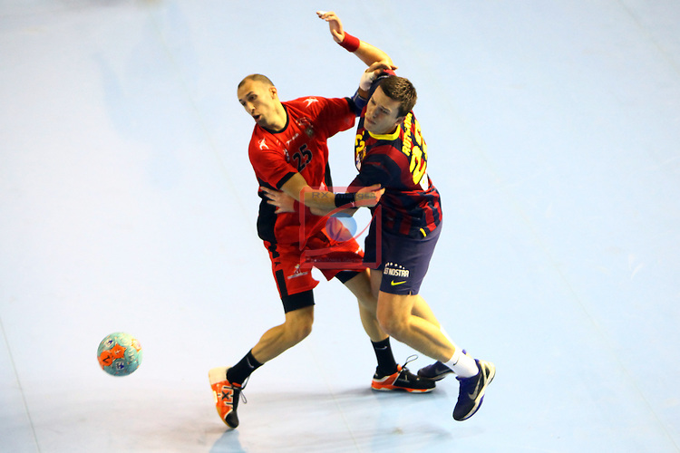XXIV Copa ASOBAL - Game: 2<br /> FC Barcelona vs BM Huesca: 39-25.<br /> Marco Mira vs Siarhei Rutenka.