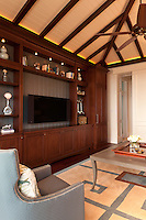 Informal Family Room combines rich yet light coastal trim details