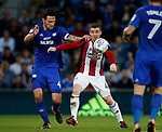 John Fleck of Sheffield Utd  tussles with Sean Morrison of Cardiff City during the Championship match at the Cardiff City Stadium, Cardiff. Picture date: August 15th 2017. Picture credit should read: Simon Bellis/Sportimage