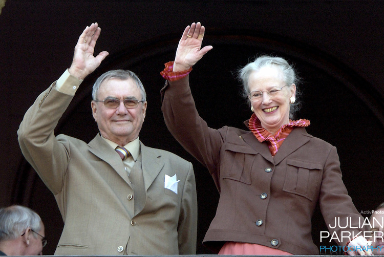 Prince Henrik appears on the balcony of The Amalienborg Palace in Copenhagen to celebrate The Queen of Denmark's 64th birthday..