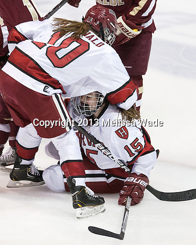 Gina McDonald (Harvard - 10), Mary Parker (Harvard - 15) - The Boston College Eagles defeated the Harvard University Crimson 2-1 in the 2013 Beanpot opening round on Tuesday, February 5, 2013, at Matthews Arena in Boston, Massachusetts.