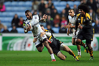 Niko Matawalu of Bath Rugby takes on the Wasps defence. European Rugby Champions Cup match, between Wasps and Bath Rugby on December 13, 2015 at the Ricoh Arena in Coventry, England. Photo by: Patrick Khachfe / Onside Images