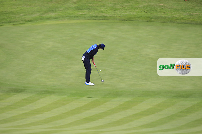 Carlota Ciganda of Team Europe on the 10th green during Day 1 Fourball at the Solheim Cup 2019, Gleneagles Golf CLub, Auchterarder, Perthshire, Scotland. 13/09/2019.<br /> Picture Thos Caffrey / Golffile.ie<br /> <br /> All photo usage must carry mandatory copyright credit (© Golffile | Thos Caffrey)